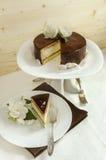 Souffle Cake with chocolate glaze Stock Photo