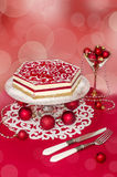 Souffle Cake and Christmas decorations, effeckt bokeh on background. Stock Photography