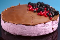 Souffle cake with fresh berries Stock Photos