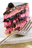 Souffle cake with jelly berries and praline close up. Royalty Free Stock Photo