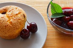 Souffle with cherries Royalty Free Stock Image