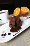 Souffle do chocolate quente fotos de stock