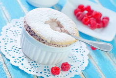 Souffle. With fresh raspberry in bowl Stock Photography