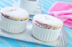 Souffle. Raspberry souffle in white bowl Stock Images