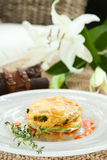 Souffle with vegetables. With fresh thyme Royalty Free Stock Photos
