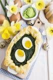 Souffle z szpinakiem i jajkami fotografia stock