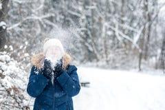 Soufflement d'une poignée de neige image stock