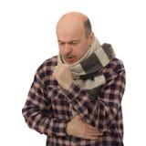 Souffrant du virus de grippe, éternuant Images libres de droits