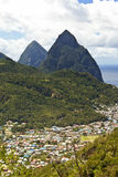 Soufriere and the pitons Royalty Free Stock Photo