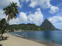 Soufriere, St. Lucia. The beach on Soufriere, St. Lucia, with Petit Piton in the background Stock Images