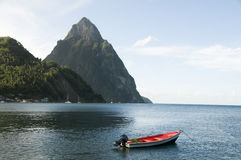 Soufriere st. lucia piton peaks  fishing boat Royalty Free Stock Photos