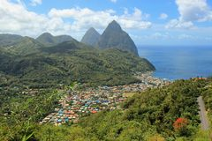 Soufriere view, St Lucia, Caribbean. Soufriere, Three Pythons and St Lucia, Caribbean Stock Images