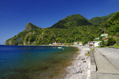 Soufriere village. Dominica. View of Soufriere village. Dominica island, Lesser Antilles royalty free stock images