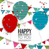 Souhait d'anniversaire avec des drapeaux et des ballons d'étamine dedans Images libres de droits