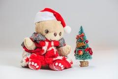 Souhait d'ours de nounours vous Joyeux Noël Photos libres de droits