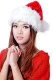 Souhait de fille de beauté de Noël photographie stock