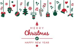 Souhait de Noël avec l'ornement d'illustration de Noël illustration libre de droits