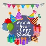 Souhait mignon vous joyeux anniversaire avec le style plat de gâteau de partie illustration stock
