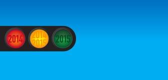 Souhaits de nouvelle année au feu de signalisation Images libres de droits