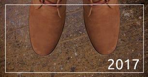 2017 souhaits de nouvelle année contre des bottes de brun de période de jeu Photo stock