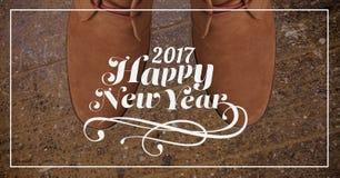 2017 souhaits de nouvelle année contre des bottes de brun de période de jeu Image libre de droits