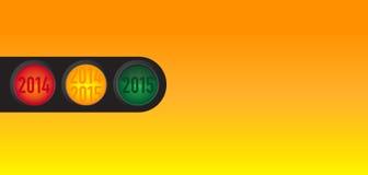 Souhaits de nouvelle année au feu de signalisation Image stock