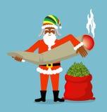 Souhaits de Rasta Santa Claus Grand chanvre rouge de sac sac de marijuana Images libres de droits