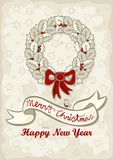 Souhaits légers de l'anglais de Noël de guirlande de feuilles de houx Image stock
