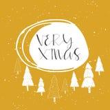 Souhaits manuscrits merveilleux et uniques de Noël Image libre de droits