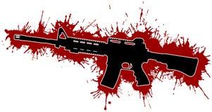 Souillures de fusil d'assaut et de sang Image stock