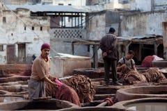 Souk дубильни, Марокко Стоковые Изображения RF