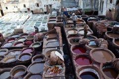 皮革厂souk在菲斯,摩洛哥 库存照片