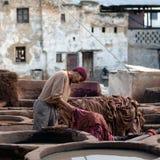 Souk do curtume, Marrocos Foto de Stock