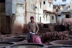 Souk do curtume, Marrocos Foto de Stock Royalty Free