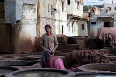 Souk do curtume, Marrocos Fotografia de Stock