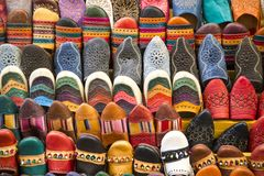 Souk in Fez, Morocco. Colorful babiuches at souk in Fez, Morocco Royalty Free Stock Photography