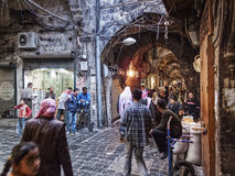 Souk market shopping street in old town of aleppo syria Stock Photos