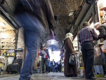 Souk market shopping street in old town of aleppo syria Royalty Free Stock Photos