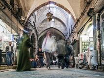 Souk market shopping street in old town of aleppo syria Stock Photography