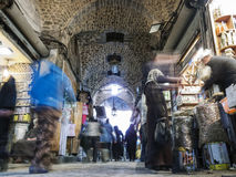 Souk market shopping street in old town of aleppo syria Royalty Free Stock Images