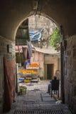 Souk market street in palestinian old town of jerusalem israel. Traditional souk market shopping street in palestinian area of jerusalem old town israel Stock Images