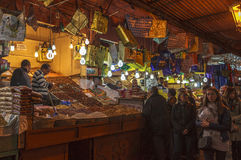 Souk marknad av Marrakech, Marocko Arkivfoto