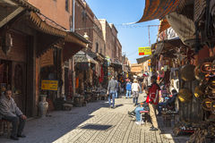 Souk marknad av Marrakech, Marocko Arkivbilder