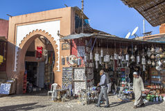 Souk marknad i Marrakech, Marocko Royaltyfria Foton