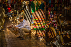 In the souk of Marrakesh Medina. A typical Friday atmosphere at the aisles Souk in Marrakesh Medina Stock Photos