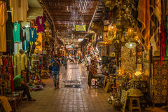 In the souk of Marrakesh Medina. A typical Friday atmosphere at the aisles Souk in Marrakesh Medina Stock Photo