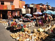 Souk in Marrakesh. A souk selling pots in the market in Marrakesh, Morocco Stock Photos