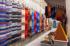 Traditional souk in a medina quarter. A colourful souk in medina. Essaouira, Morocco Royalty Free Stock Images