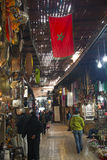 souks的人们在马拉喀什,摩洛哥 免版税库存照片