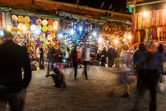 Souks in Marrakesh at night Royalty Free Stock Photo
